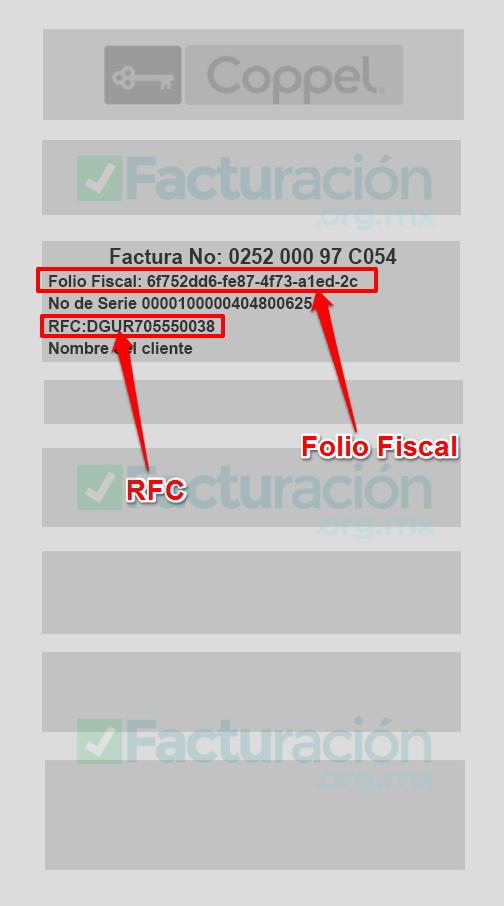 Coppel PASO 1 Identifica tu Folio Fiscal y RFC en tu ticket