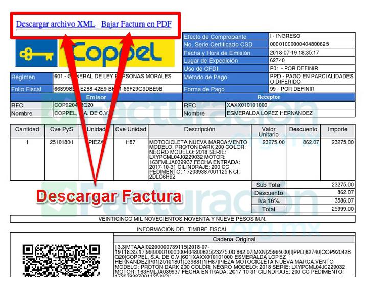 Coppel PASO 4. Descarga la factura de Coppel