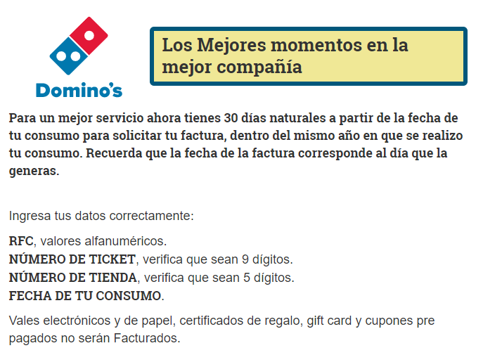 Dominos pizza PASO 1