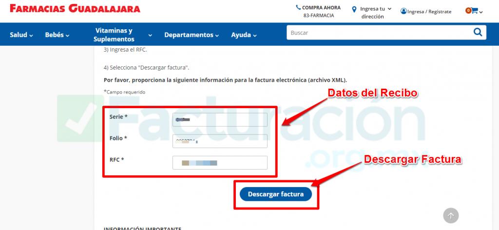 Farmacias guadalajara PASO 3. Ingresa los datos de Facturación.
