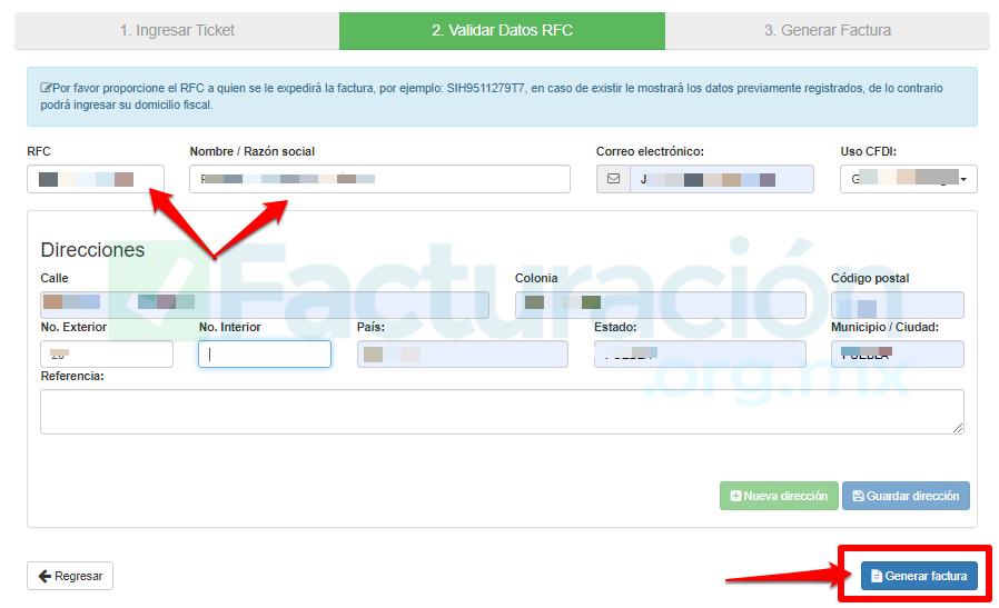 Heb PASO 4. Revisa los datos para continuarPASO 5 Captura tus datos fiscalesPASO 6. Descarga tu factura en XML y PDF