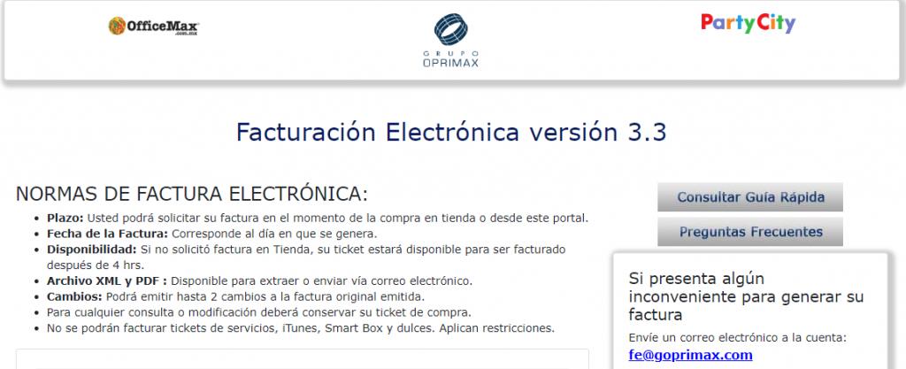 Office max PASO 1 Ingresa al sistema de Facturación Electrónica