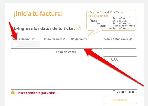 Oxxo PASO 3 Llena el formulario con los datos del ticket