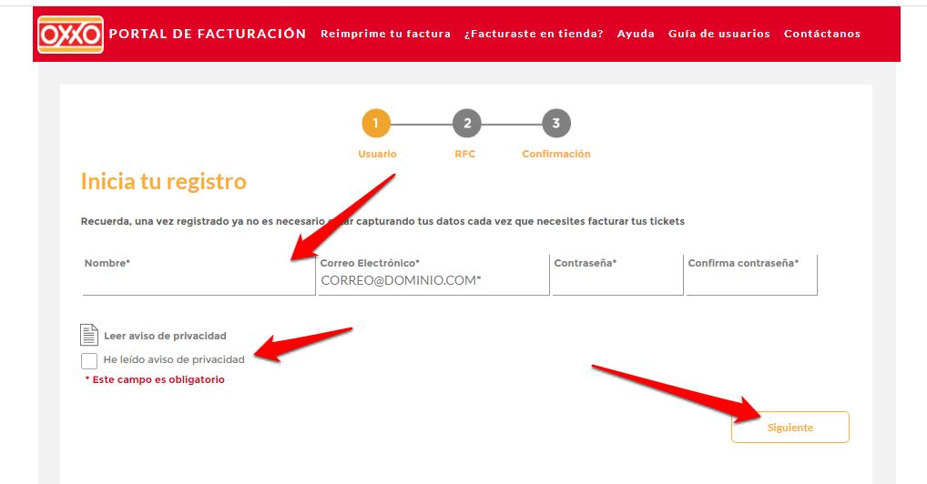 Oxxo PASO 1 Registrarse en la plataforma