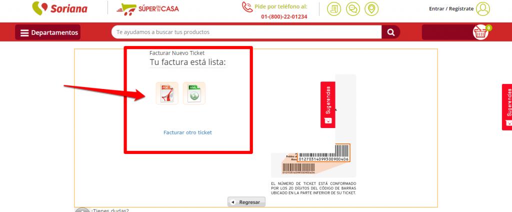 Soriana PASO 4 Descarga tu factura de Soriana